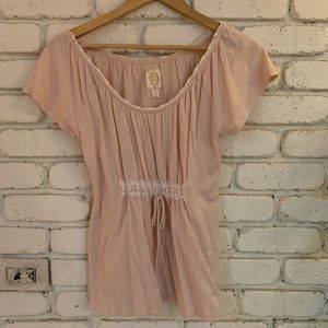Anthropologie Pink Lace Top